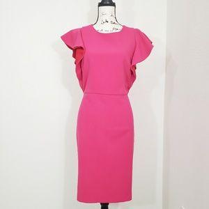 Ann Taylor Women Pink Ruffle Sleeves Dress Size 8